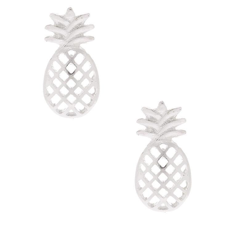 Silver Pineapple Stud Earrings,