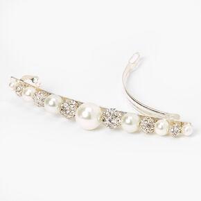 Silver Rhinestone & Pearl Bead Barette,