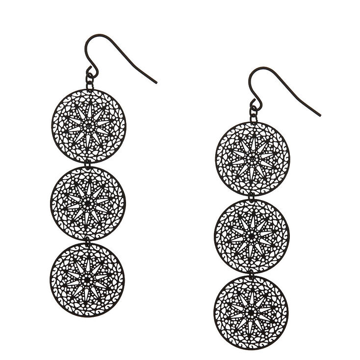 Black Filigree Circle Drop Earrings,