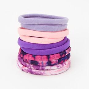 Purple Tie Dye Rolled Hair Ties - 10 Pack,