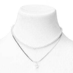Silver Pearl Herringbone Multi Strand Necklace,