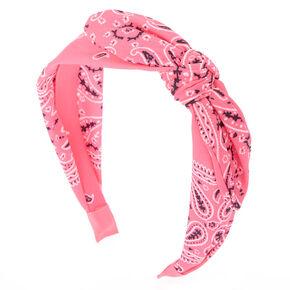 Paisley Bandana Headband - Neon Pink,