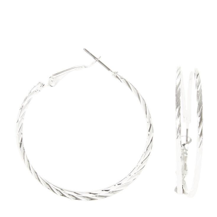 Textured Silver Double Hoop Earrings,