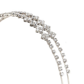 Silver-Tone Crystal Lined Double Row Headband,