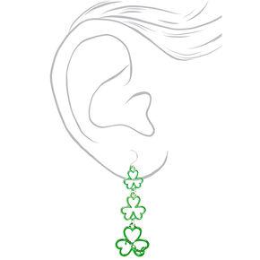 """2"""" Lucky Shamrock Drop Earrings - Green,"""