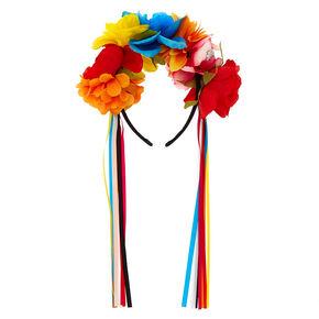Rainbow Day of The Dead Floral Headband,