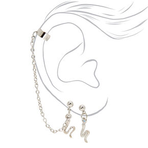 "Silver 1.75"" Snake Cuff Connector Drop Earrings,"