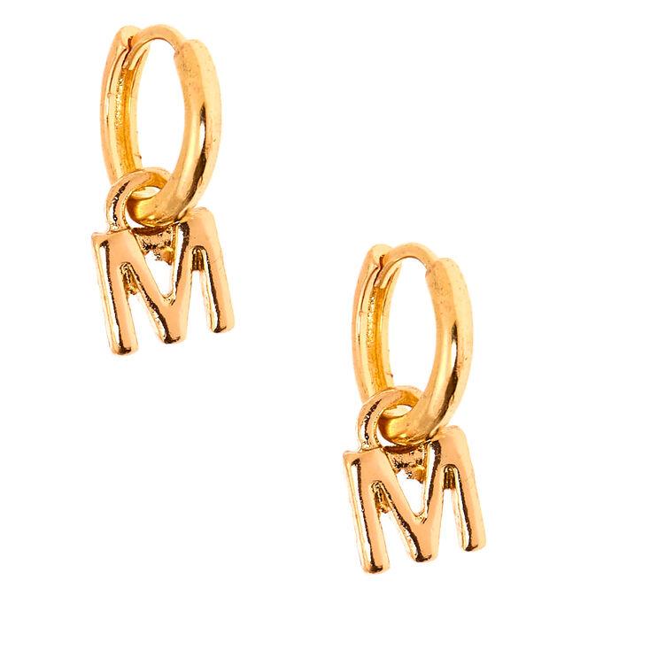 Gold 10MM Initial Huggie Hoop Earrings - M,