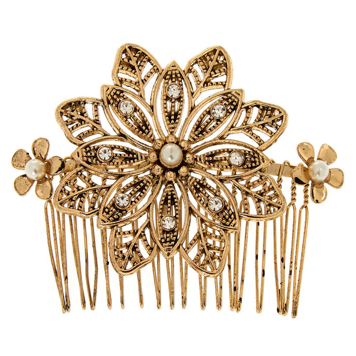 Antique Gold Flower Hair Comb,