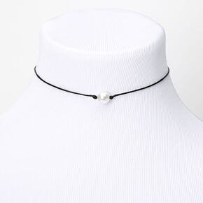 Single Pearl Cord Choker Necklace - Black,