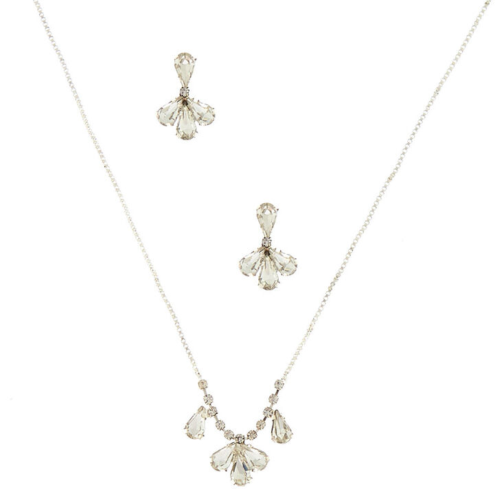 Silver Glass Rhinestone Delicate Jewelry Set - 2 Pack,