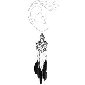 "Black 5"" Crystal Filigree Feather Drop Earrings,"