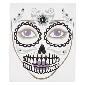 Skeleton Face Tattoos - Black, 11 Pack,
