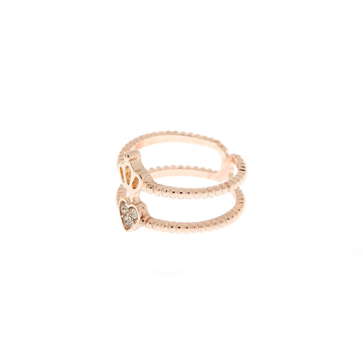 Rose Gold Double Heart Crown Ring,