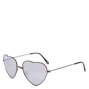 6ef3970341 Black Chrome Heart-Shaped Sunglasses