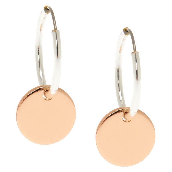 12MM Circle Charm Hoop Earrings,