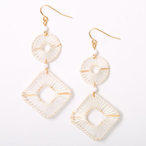 "Gold 2.5"" Threaded Geometric Drop Earrings - White,"