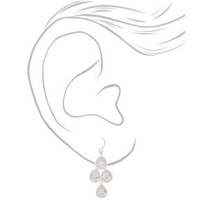 """Silver Cubic Zirconia 1.5"""" Teardrop Drop Earrings,"""
