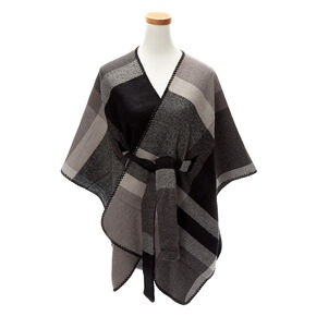 Plaid Sweater Poncho - Black,