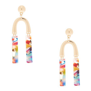 "Gold 2.5"" Horseshoe Resin Abstract Drop Earrings,"
