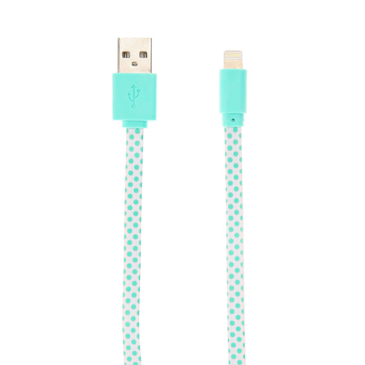 Mint Green Polka Dot USB Cable,