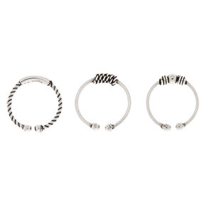 Sterling Silver Bead Faux Nose Ring - 3 Pack,