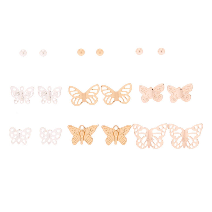 Mixed Metal Butterfly Stud Earrings - 9 Pack,