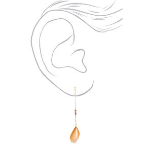 "Gold 3"" Feather Drop Earrings - 3 Pack,"