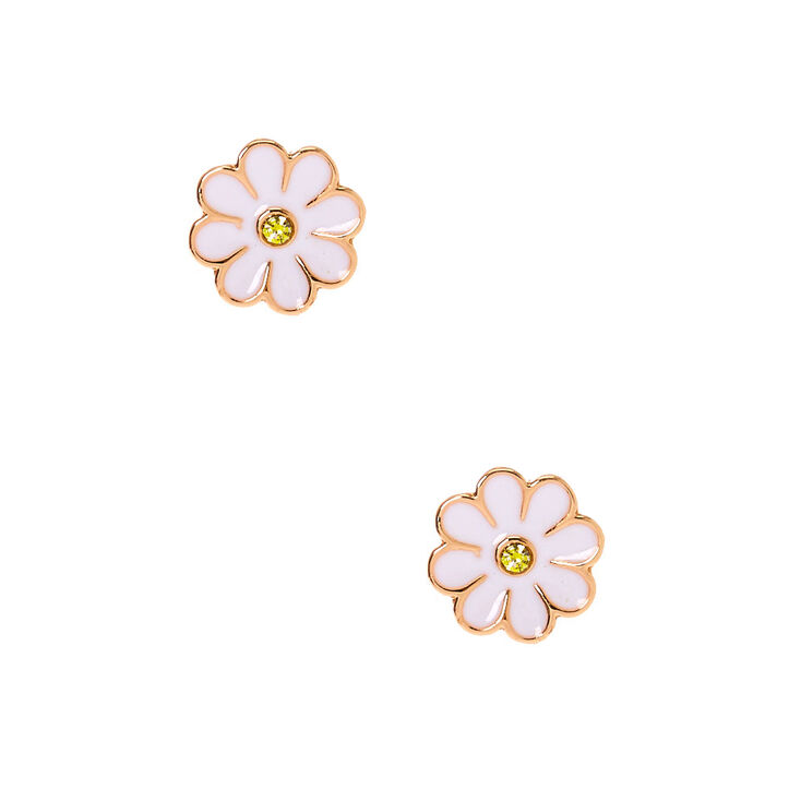 Sterling Silver Rose Gold Daisy Stud Earrings - White,