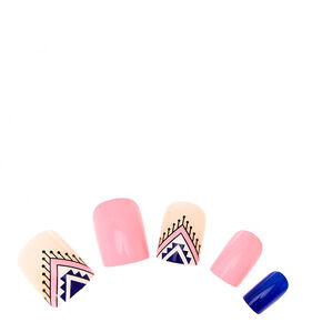 Blue & Navy Art Deco Instant Nails,