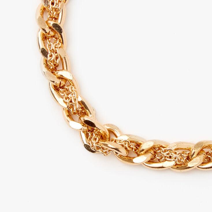 Gold Braided Chain Link Bracelet,
