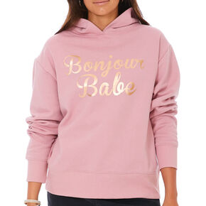 Bonjour Babe Hoodie - Pink,