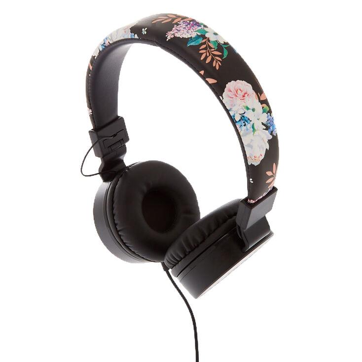 Floral Headphones - Black,