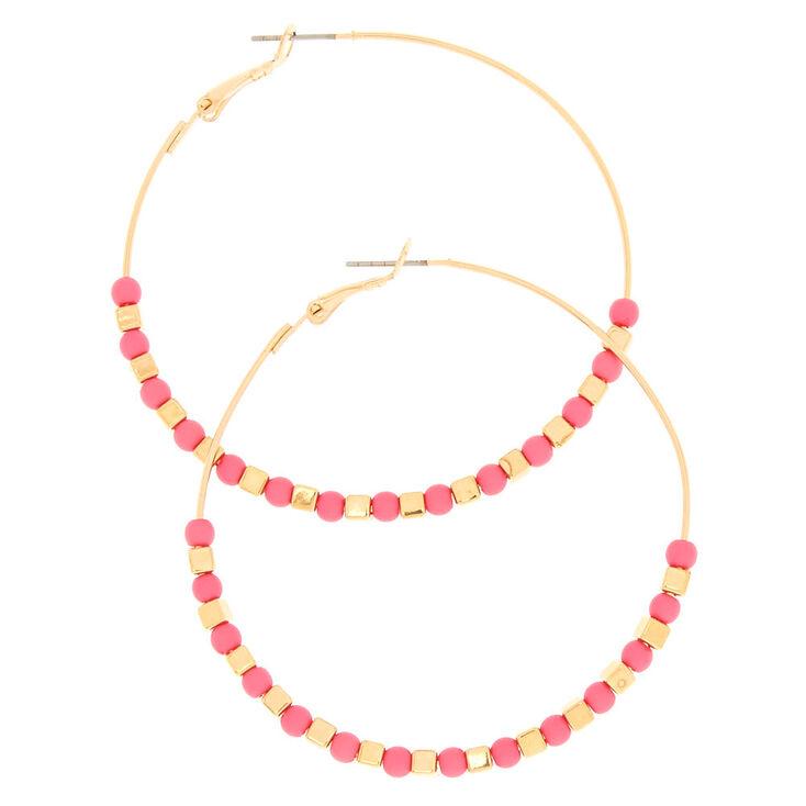 60MM Gold Pink Beaded Hoop Earrings,