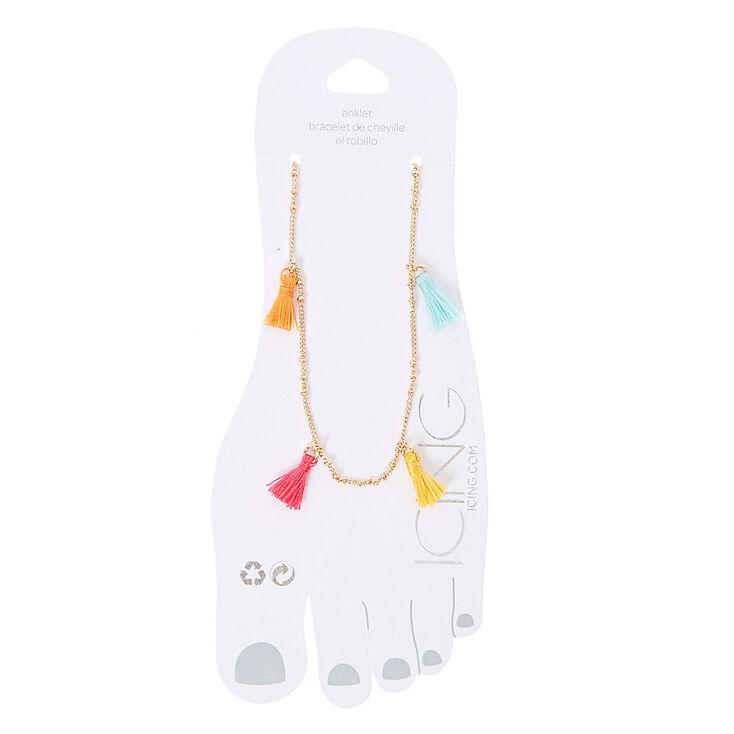 Colorful Tassel Gold Tone Ankle Bracelet,