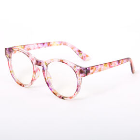 Round Transparent Floral Clear Lens Frames - Pink,