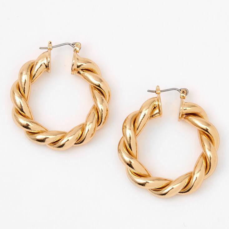 Gold 30MM Twisted Hoop Earrings,