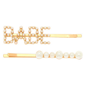 Gold Babe Pearl Hair Pins - 2 Pack,
