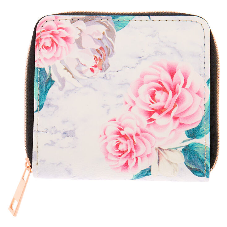 Marble Floral Wallet - White,