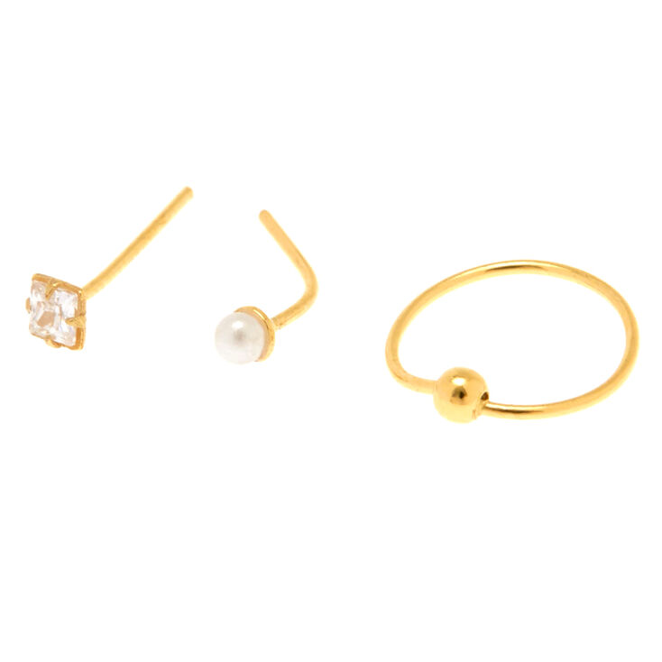 3 Pack Sterling Silver Fancy Gold Nose Studs,