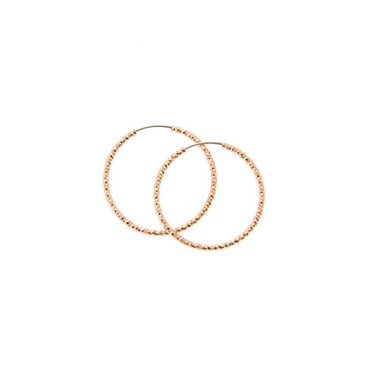 25MM Rose Gold-toned Sandblasted Hoop Earrings,