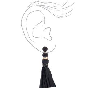 Raffia Drop Earrings - Black,