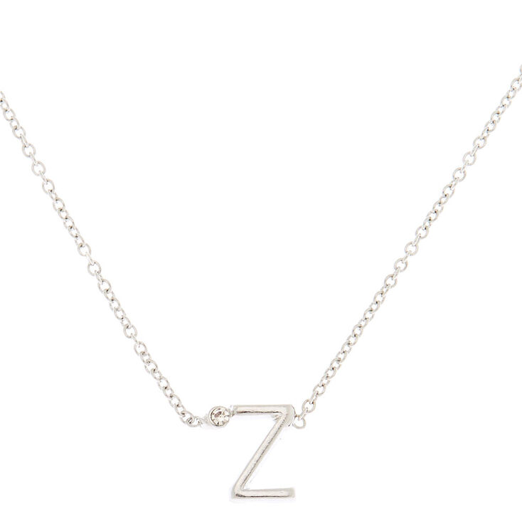Silver Stone Initial Pendant Necklace - Z,