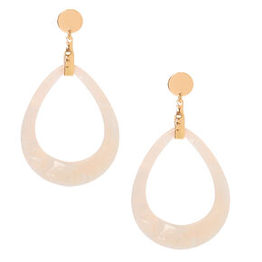 "Gold 2.5"" Teardrop Drop Earrings - White,"