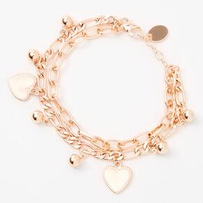 Rose Gold Heart Charm Double Chain Bracelet,