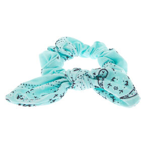 Paisley Print Bandana Bow Hair Scrunchie - Mint,
