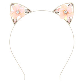 Sequin Flower Cat Ears Headband - Baby Pink,