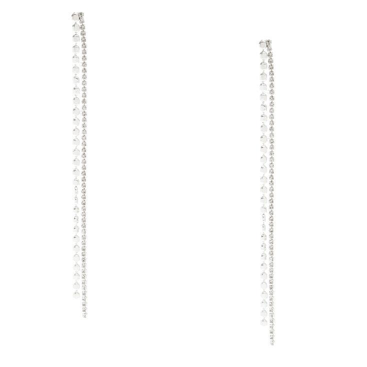 Silver Tone & Faux Crystal Geometric Fringe Drop Earrings,