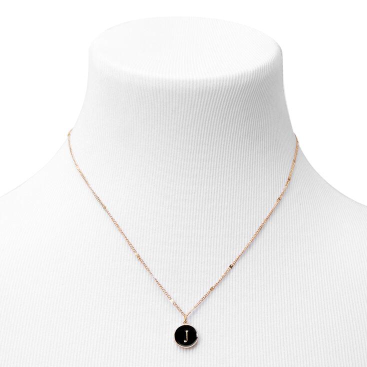 Gold Enamel Initial Pendant Necklace - Black, J,