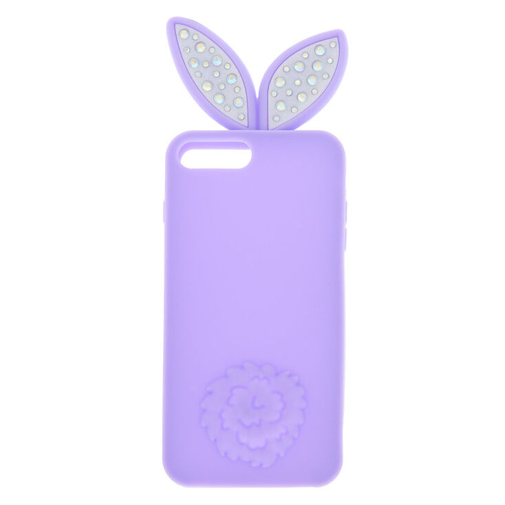 Bling Bunny Ears Silicone Phone Case - Fits iPhone 6/7/8 Plus,